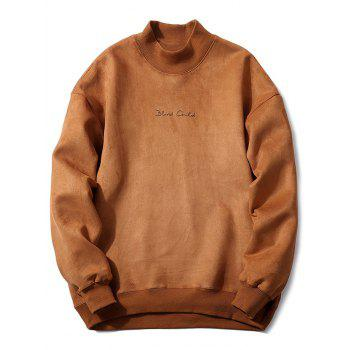 Embroidery Mock Neck Suede Sweatshirt