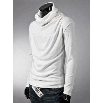 Brief Style Long Sleeve High Neck T-Shirt - WHITE WHITE