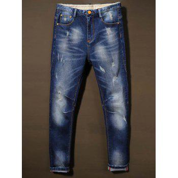Holes Design Cat's Whisker Bleach Wash Jeans
