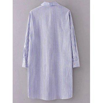 Long Sleeve Striped Shift Shirt Dress - STRIPE STRIPE