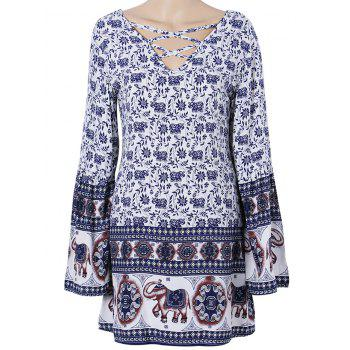 Boho Floral Criss Cross Tunic Dress