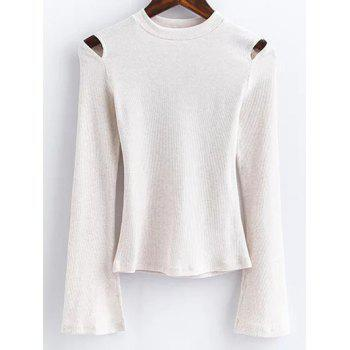 Flare Sleeve Cut Out Ribbed Knitwear