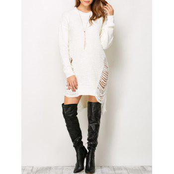 Ripped Drop Shoulder Tunic Knitted Jumper Dress