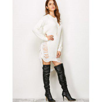 Ripped Drop Shoulder Tunic Knitted Jumper Dress - WHITE WHITE