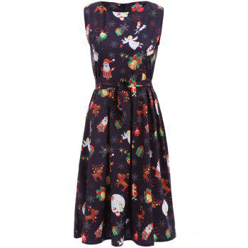 Christmas Gifts Graphic Pleated Sleeveless Dress
