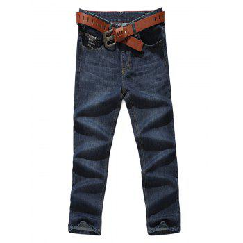 Letter Pocket Zipper Fly Straight Jeans - DENIM BLUE DENIM BLUE
