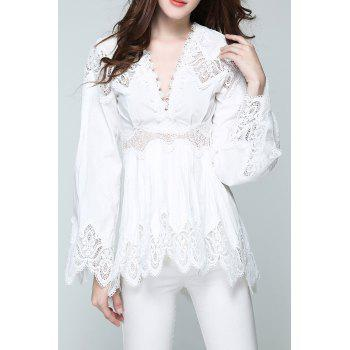 Plunge A Line Lace Scalloped Blouse