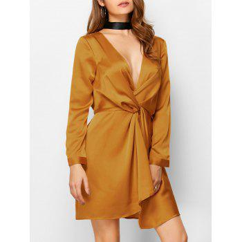 Plunge Neck Twist Front Mini Dress