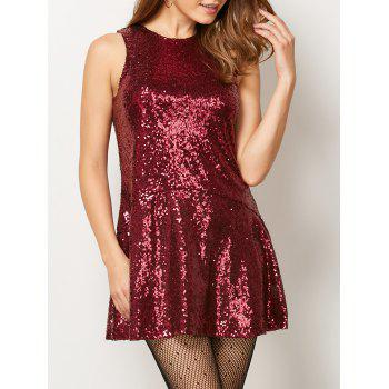 Jewel Neck Cut Out Sequined Dress