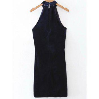 Velvet Halter Bodycon Dress - PURPLISH BLUE PURPLISH BLUE