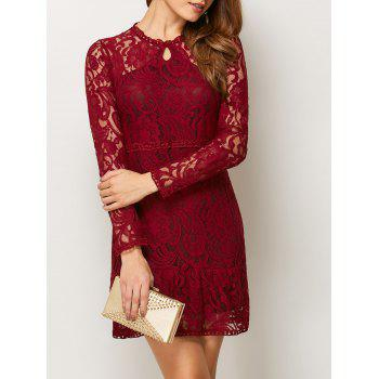 Long Sleeve Openwork Lace Club Mini Dress