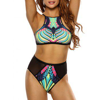 Printed High Neck High Waisted Racerback Bikini Set