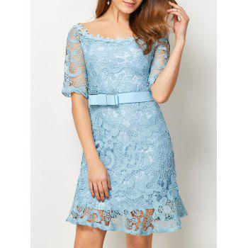 Scoop Neck Lace Belted Dress