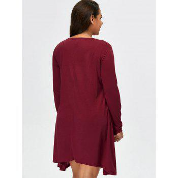 Asymmetric Plus Size Full Sleeve T-Shirt - BURGUNDY BURGUNDY