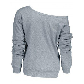 Stylish Letter and Snowflake Print Pullover Christmas Sweatshirt For Women - GRAY GRAY