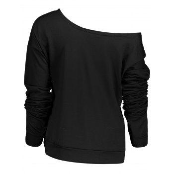 Stylish Letter and Snowflake Print Pullover Christmas Sweatshirt For Women - BLACK XL