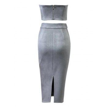 Faux Suede Crop Top and Pencil Skirt - GRAY GRAY