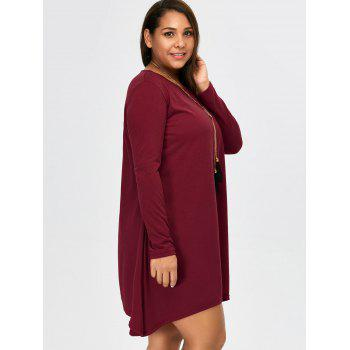 Asymmetric Plus Size Full Sleeve T-Shirt - BURGUNDY 3XL
