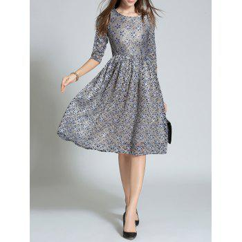 High Waist Embroidery Lace Dress - GRAY L