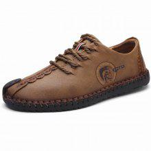 Lace Up Faux Leather Stitching Casual Shoes