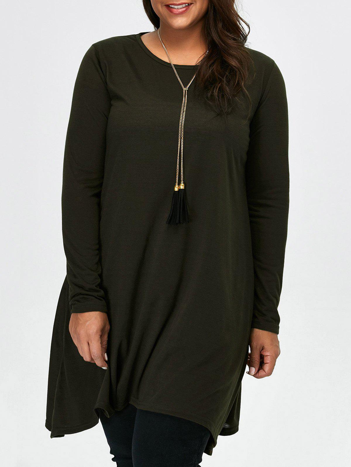 Asymmetric Plus Size Full Sleeve T-Shirt - BLACKISH GREEN M