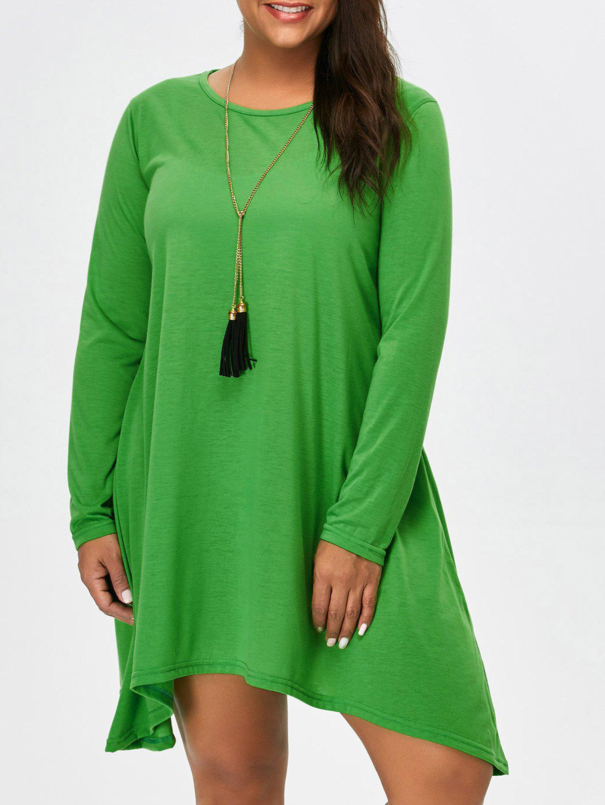 Asymmetric Plus Size Full Sleeve T-Shirt - GREEN M
