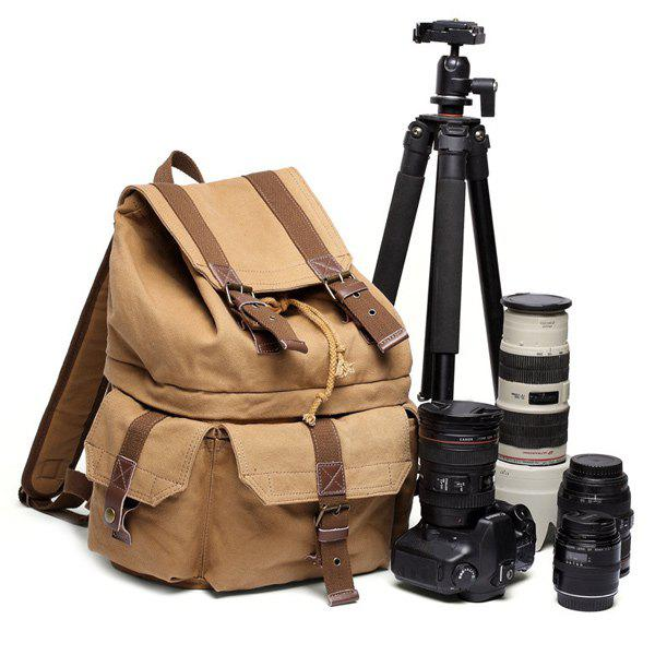 Canvas Multi Pockets Camera Backpack - EARTHY
