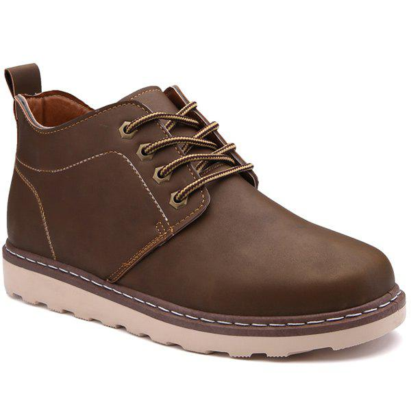 Tie Up Stitching Faux Leather Boots - BROWN 41