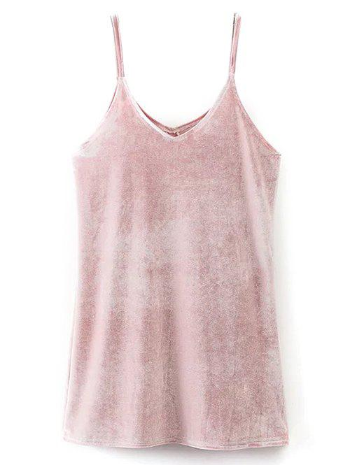 V Neck Velvet Cami Dress - PINK M