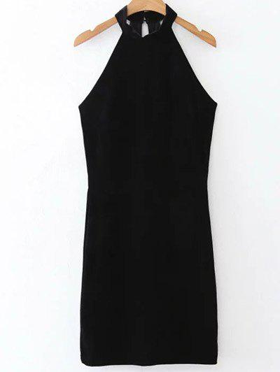 Velvet Halter Bodycon Dress - BLACK L