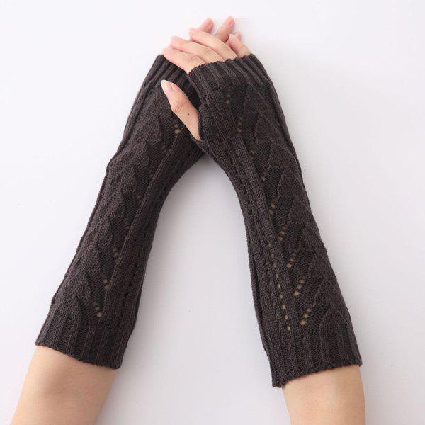 Hollow Out Crochet Knit Triangle Fingerless Arm Warmers - BLACK GREY