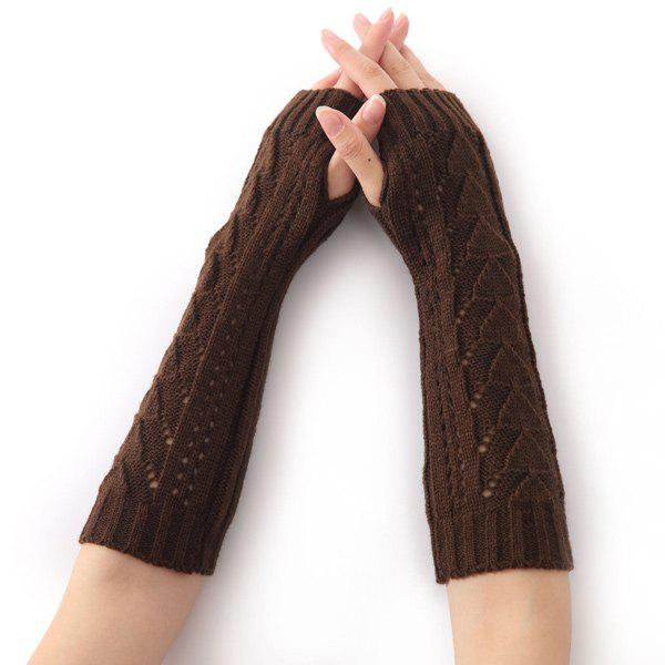Hollow Out Crochet Knit Triangle Fingerless Arm Warmers - COFFEE