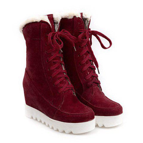 Lace Up Mid Calf Hidden Wedge Boots - DEEP RED 37
