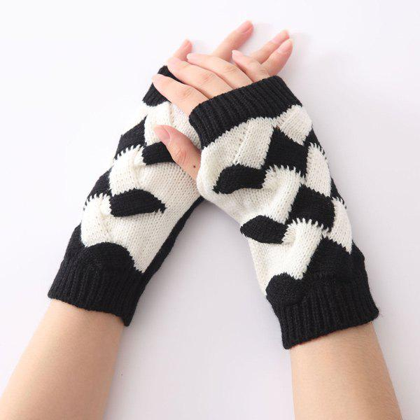 Crochet Checked Knit Triangle Fingerless Gloves - BLACK
