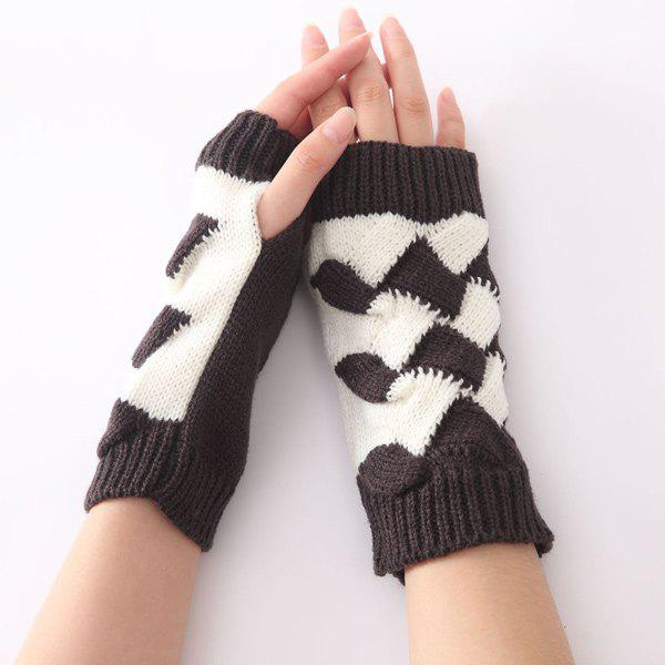 Crochet Checked Knit Triangle Fingerless Gloves - DEEP GRAY
