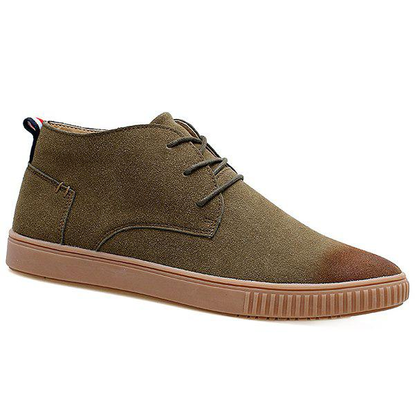 Suede Tie Up High Top Casual ShoesShoes<br><br><br>Size: 40<br>Color: KHAKI