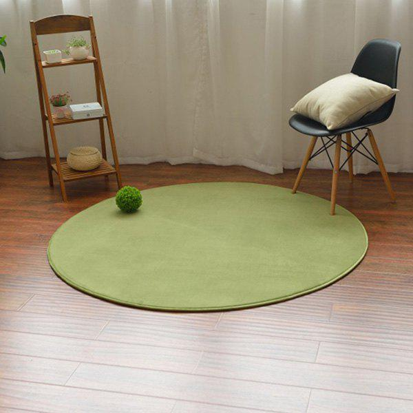 Candy Color Circle Coral Fleece Carpet - GRASS GREEN