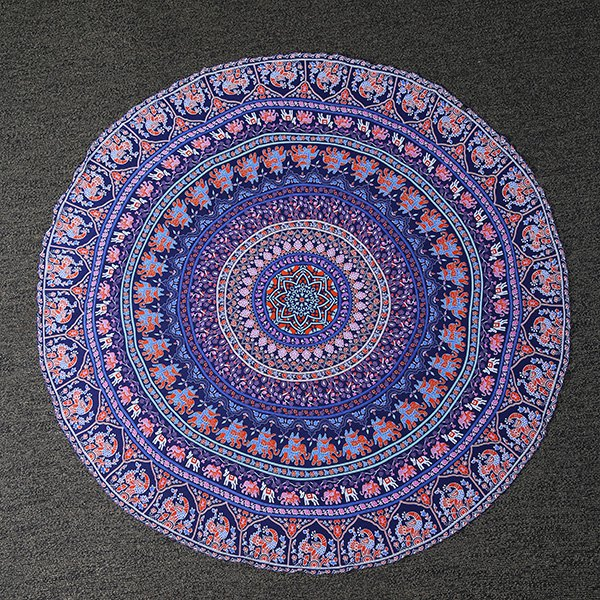 Indian Style Bikini Boho Swimwear Totem Print Chiffon Round Beach Throw Scarf - LIGHT PURPLE