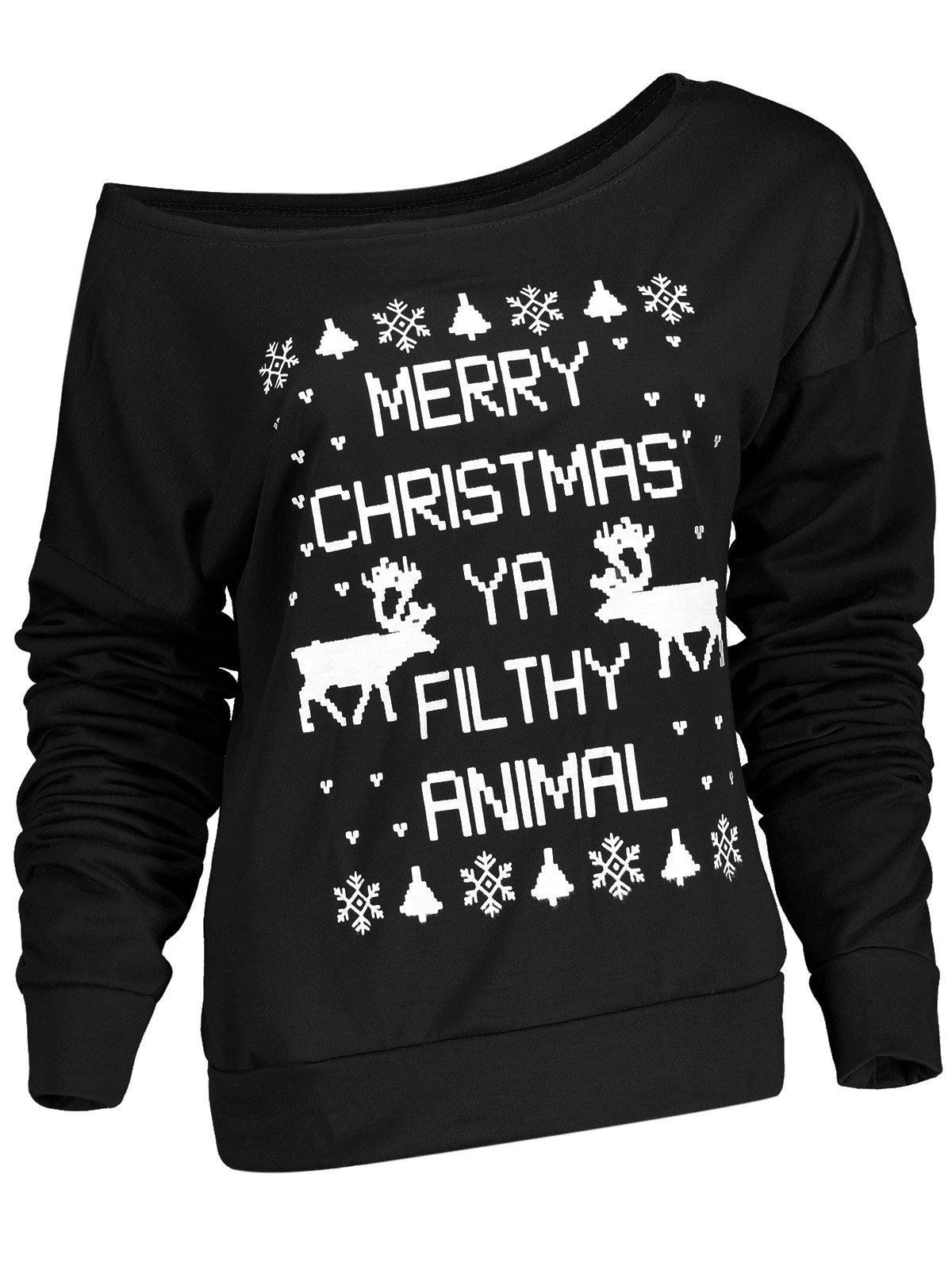 Stylish Letter and Snowflake Print Pullover Christmas Sweatshirt For Women christmas snowflake letter print plus size sweatshirt