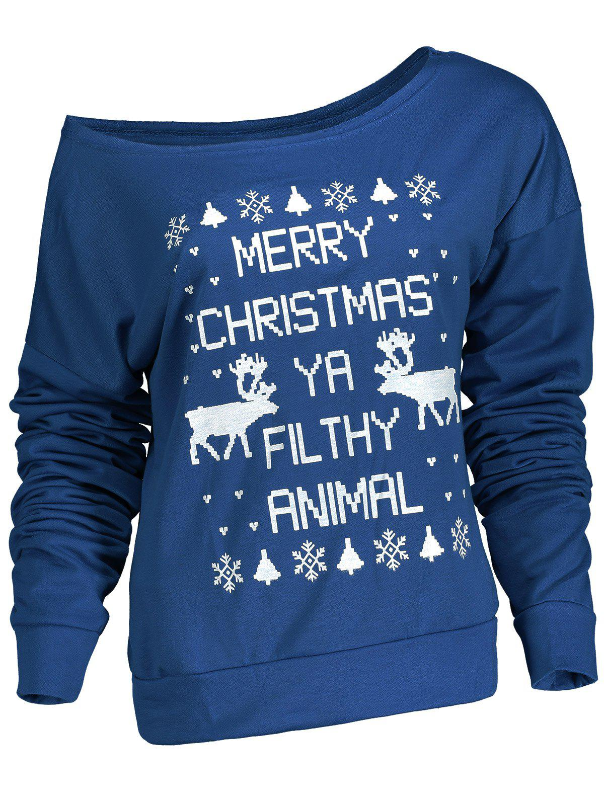 Stylish Letter and Snowflake Print Pullover Christmas Sweatshirt For Women - BLUE XL
