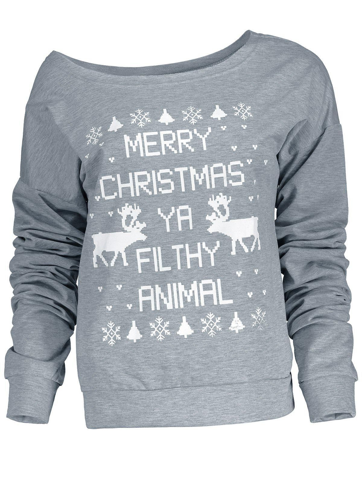 Stylish Letter and Snowflake Print Pullover Christmas Sweatshirt For Women - GRAY L