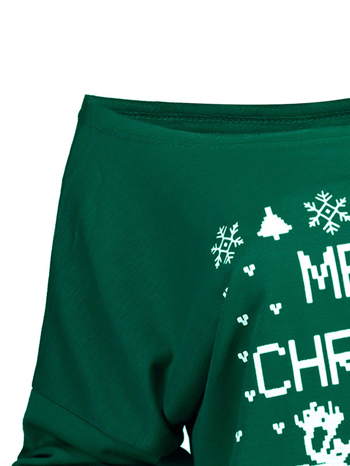 Stylish Letter and Snowflake Print Pullover Christmas Sweatshirt For Women - GREEN XL