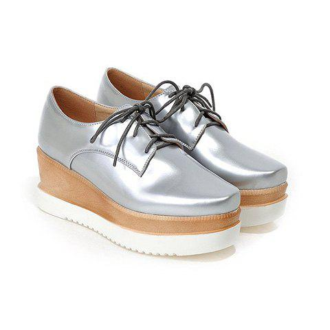 Platform Tie Up Square Toe Wedge Shoes - SILVER 39