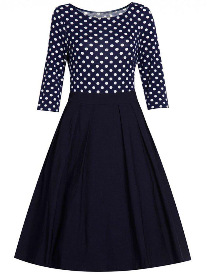 Polka Dot Panel Fit and Flare Dress