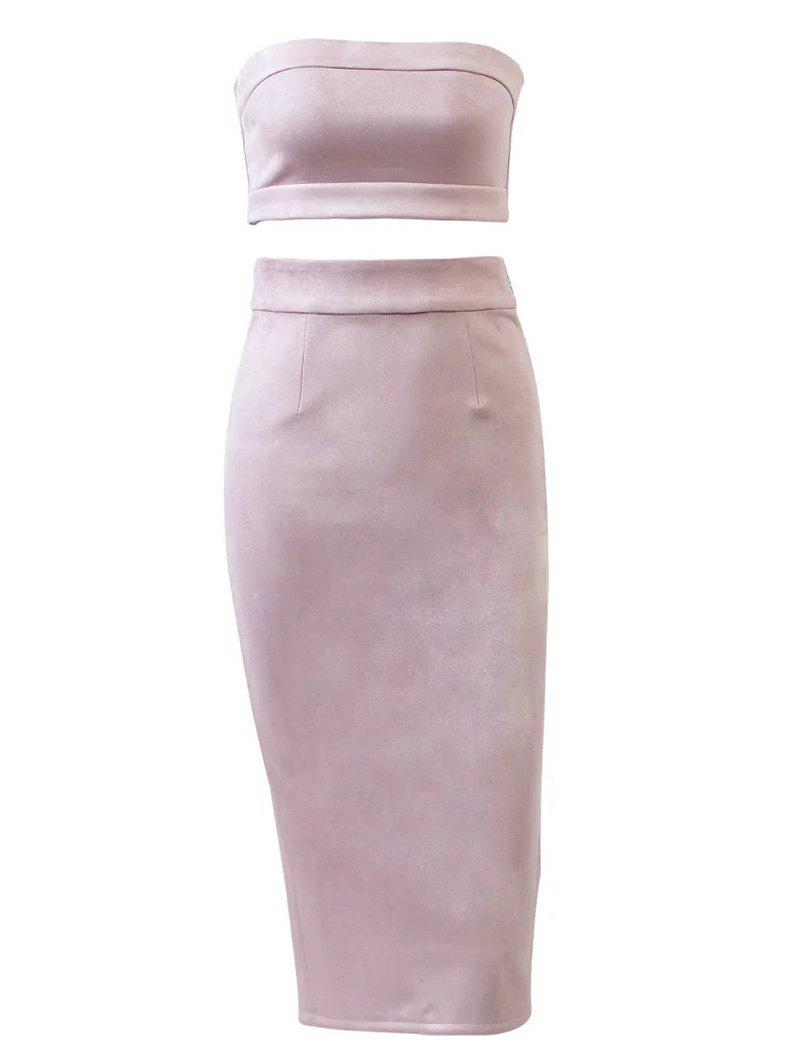 Faux Suede Crop Top and Pencil Skirt - PINK M