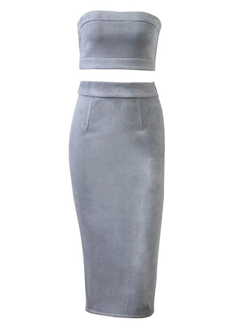 Faux Suede Crop Top and Pencil Skirt - GRAY M