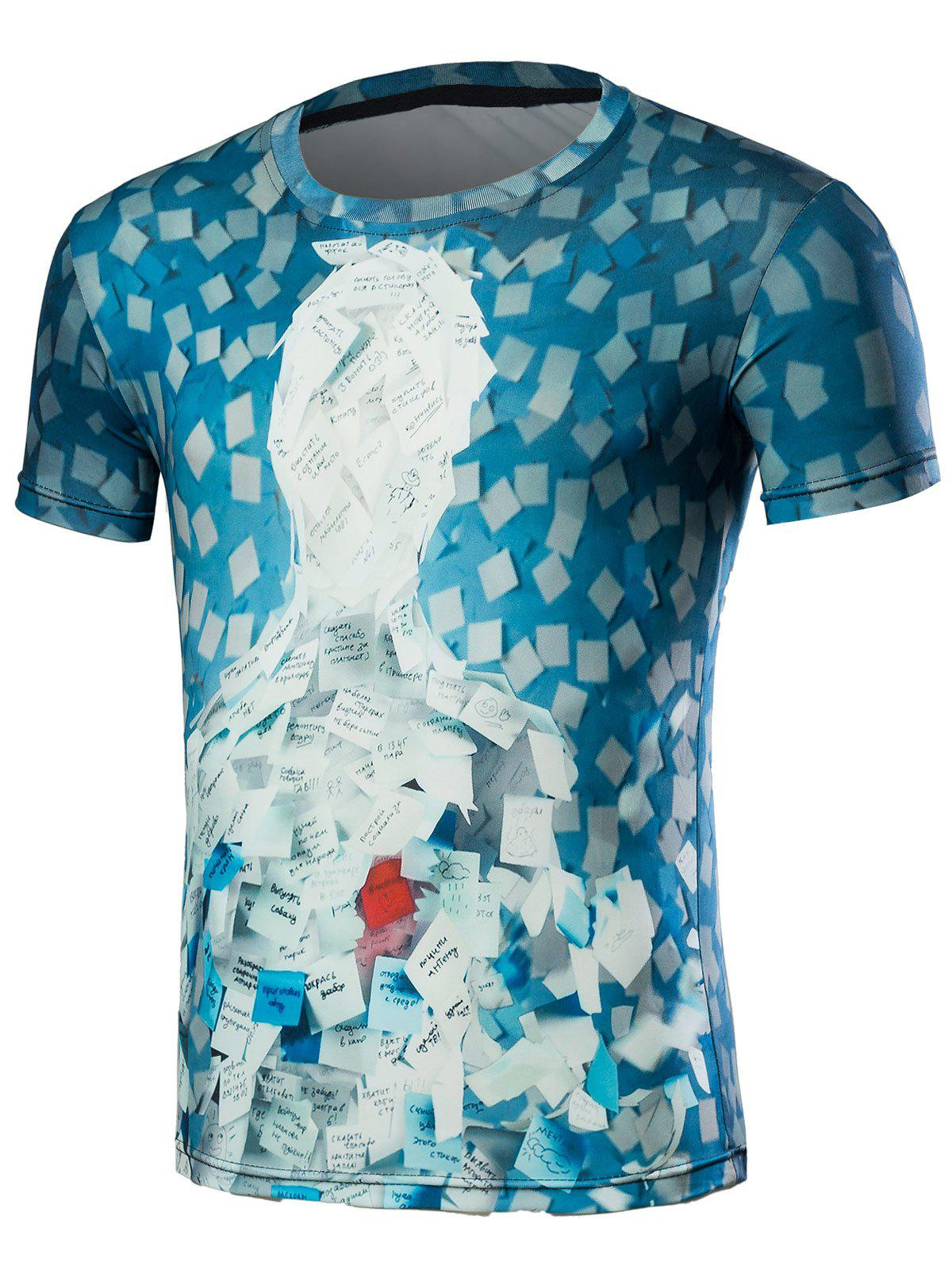 3D Notes Paste Print Short Sleeve T-Shirt - BLUE S