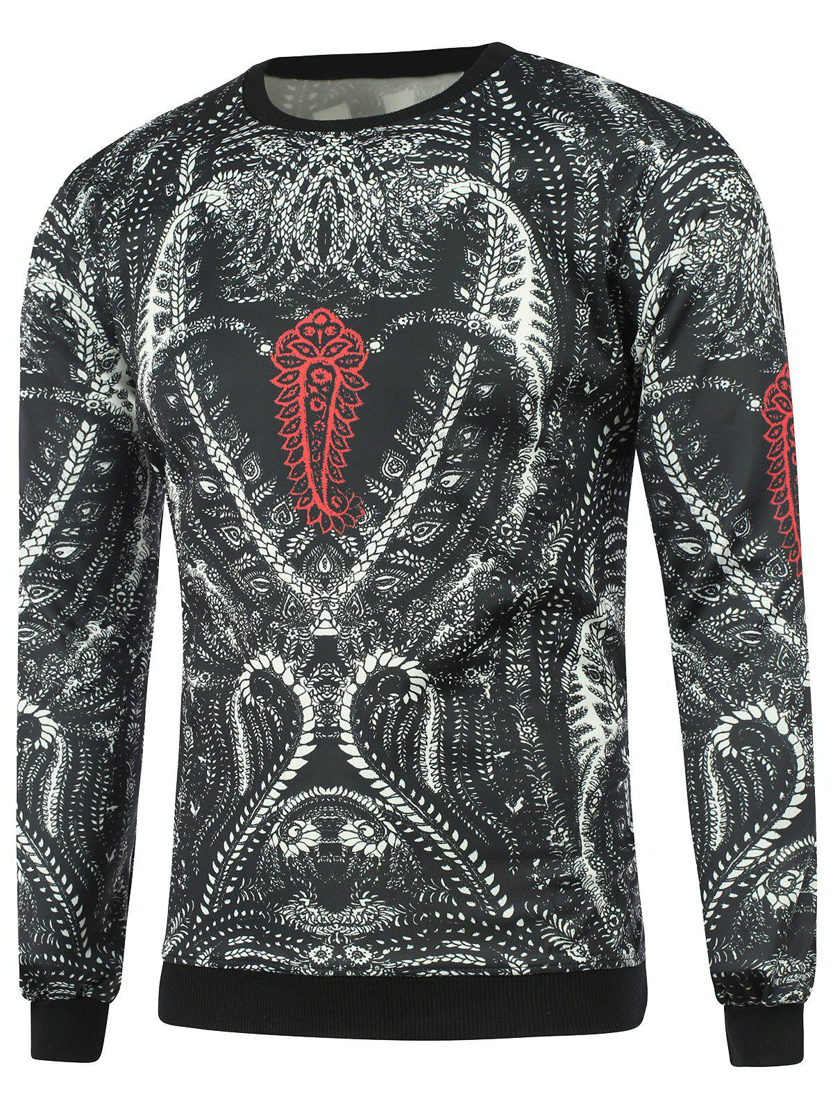 Long Sleeve Ornate Print SweatshirtMen<br><br><br>Size: L<br>Color: BLACK