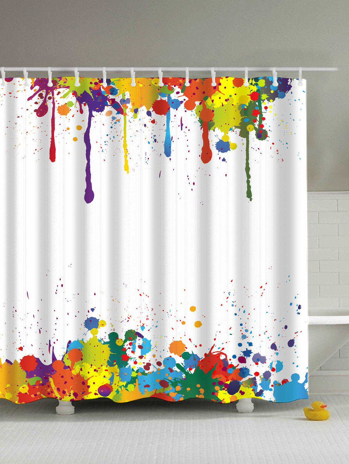 Colorful shower curtain - Colorful Paint Splatter Waterproof Polyester Shower Curtain Colormix