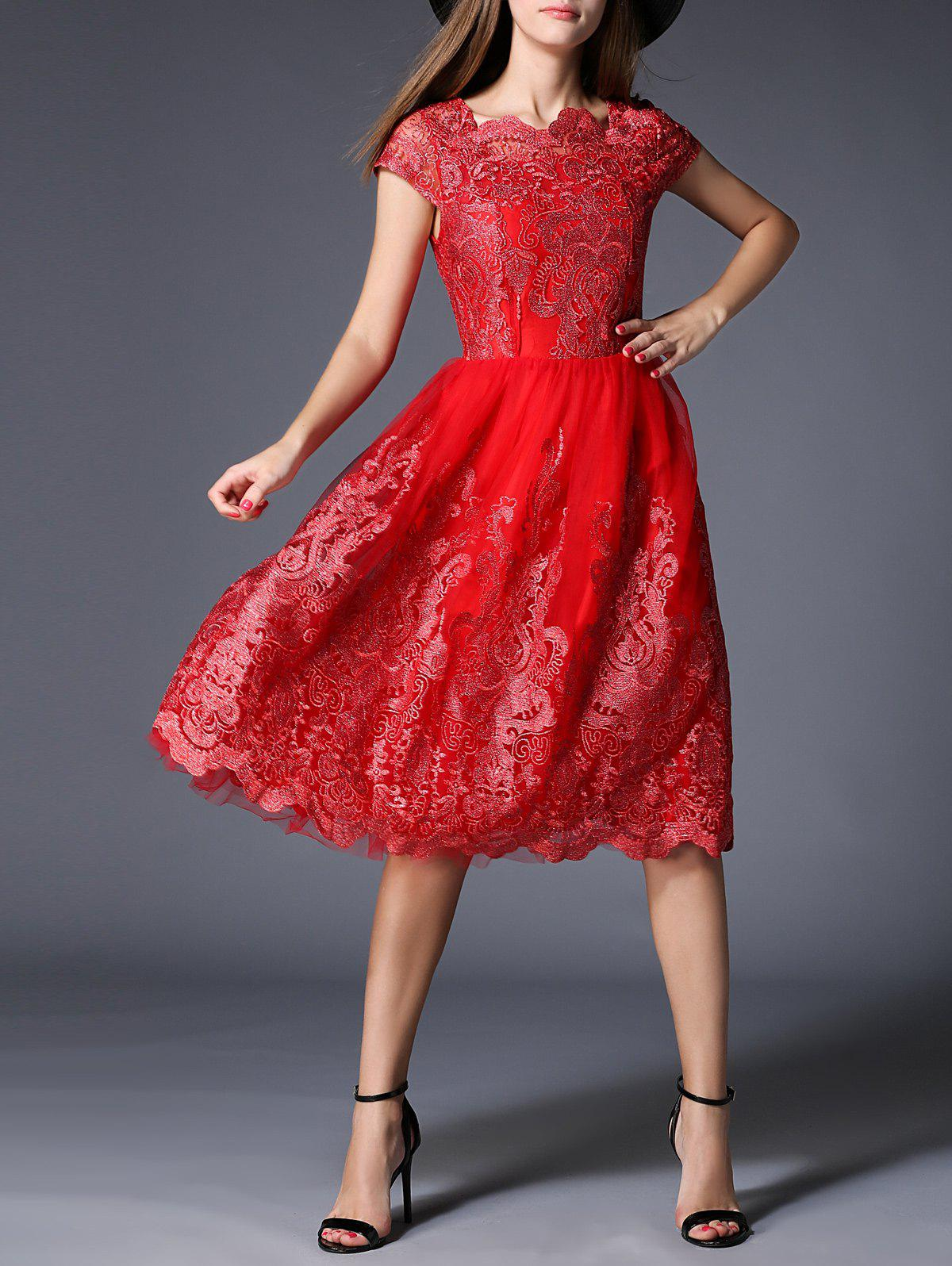 Robe broderie taille haute - Rouge S